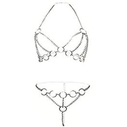 ADESUGATA Sexy Dessous Set,Damen-Bodysuit,Aushöhlen Spaß Unterwäsche, Offenen Schritt Perspektive Geschirr Iron Chain Versuchung Nachtwäsche Tassel Babydoll Pyjamas - 1