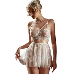 Sexy Spitze Dessous für Frauen Strappy Chemise Hochzeit Babydoll Nachtwäsche (Weiß, XL) - 1